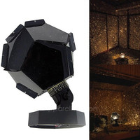 New Fantastic Celestial Star Projector Lamp Night Light Funny DIY Romantic Valentine's Day Gift AP (Color: Black)
