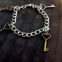 Skeleton Key Charm Bracelet