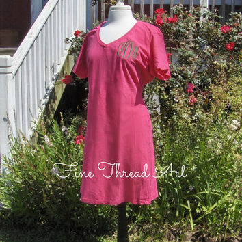 Monogram Shirt Dress Ladies VNeck Tee Dress Cotton TShirt Dress Knee Length