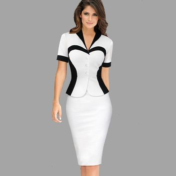 New Dress White Black Patchwork Two Women Dresses V Neck Short Sleeve Casual Office Pencil Fashion Dress