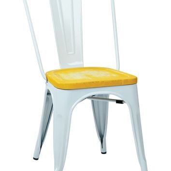 Office Star White/Ash Yellowstone Bristow Metal Chair with Vintage Wood Seat