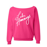 Luke Hennings 5sos Sweatshirt 5 seconds of summer Shirt PINK off the shoulder slouch jumper wide neck boat neck all sizes