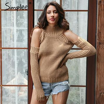 Simplee Turtleneck off shoulder knitted pullovers Sexy tricot cut sleeve sweater women Winter casual oversized jumper