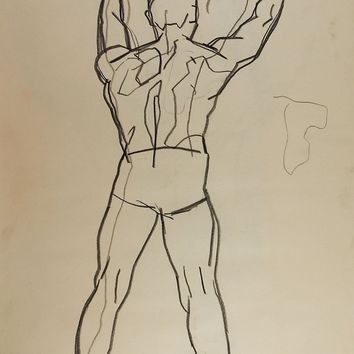 1950's Line Drawing Male Figure