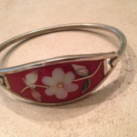 Vintage Alpaca Silver Bracelet Red Flower Inlay Mexico Mexican Jewelry