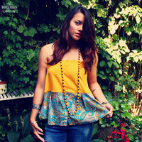 Bohemian Top Tube Paisley Strapless Ochre Yellow Colorblock Boho Hippie Women's Upcycled Clothing Recycled Eco Friendly Clothing OOAK