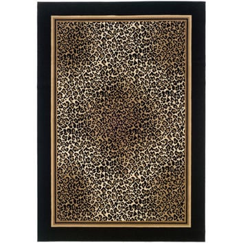 Couristan Everest Black Leopard Area Rug