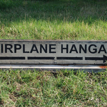 Airplane hangar sign made from reclaimed plywood Rustic wood sign farmhouse decor