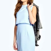 Erin Woven High Neck Double Layer Dress