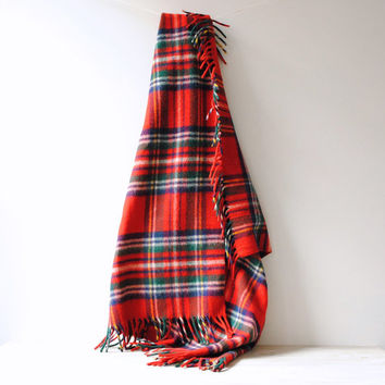 Vintage Plaid 100% Wool Blanket / Red Plaid / Tartan Plaid