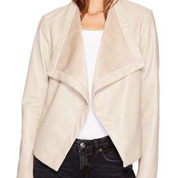 Gracelyn Drape Front Faux Leather Jacket