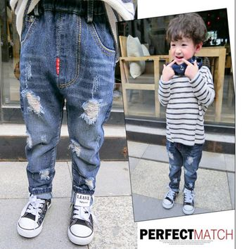 Children Broken Hole Pants Boys Panties Kids Designer Pants for Boy Clothes with Leave Mark 2-9T Cool Fashion Plant Dyeing