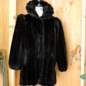 80s Jordache black faux fur coat / size S / black faux mink coat / vintage black fake fur coat