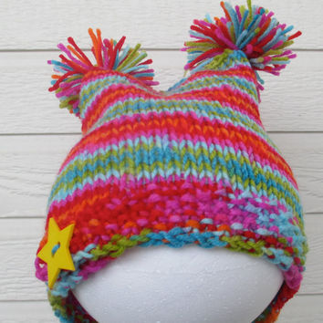 Kids neon three corner hat - hand knit, spiraled pattern, pom poms