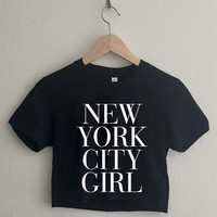 New York City Girl Short Sleeve Cropped T Shirt