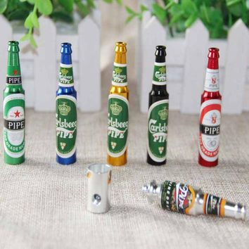 ac NOOW2 Mini Beer Smoke Metal Pipes Portable Creative Smoking Pipe Herb Tobacco Pipes Gifts narguile Weed Grinder Smoke 5 colors Pipes