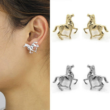 "[$5 Minimum] Fashion Cool Gold Silver Tone Horse 0.8""X1""Stud Earrings Cute gift for girls Ladys Friendship birthday gift ASR"