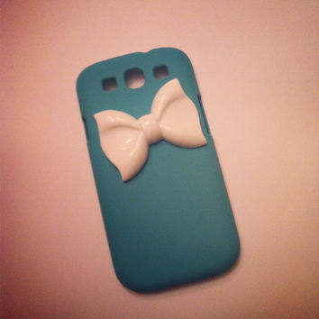 Samsung Galaxy S3 SIII Teal with White Bow 3D case