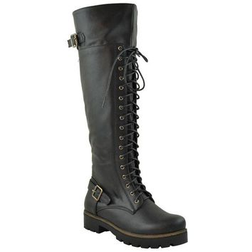 DCK7YE Womens Lace Up Knee High Combat Boots Black