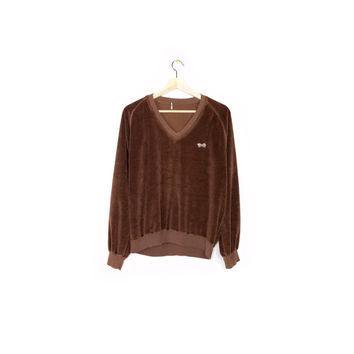 VELOUR FOX shirt - pullover v-neck sweatshirt - copper brown velvet