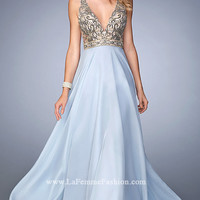 Deep V-Neck Long Open Back Prom Dress by Gigi