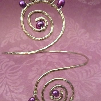 Wire Wrapped Greecian Swirl, Upper Arm Cuff , Hammered Armlet, Arm Band - Can Custom Create for YOU