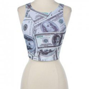 100 Dollar Bill Print Crop Tank $14.99