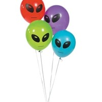 B2 – 4 ALIEN HEAD BALLOONS – 11″ – MULTI