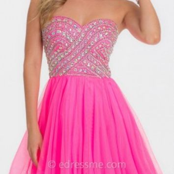Geometric A-line Short Prom Gown by Camille La Vie
