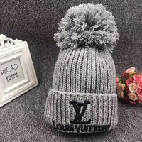 """Louis Vuitton"" Autumn Winter Fashion Letter Embroidery Hairball Knit Hat Women Warm Hat"