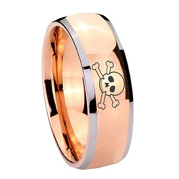 8MM Rose Gold Dome Skull Design 2 Tone Tungsten Carbide Laser Engraved Ring