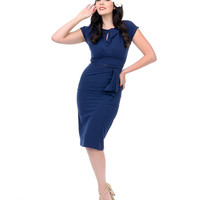 Stop Staring! 1940s Style Navy Fitted Timeless Wiggle Dress