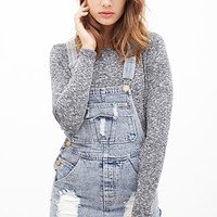 FOREVER 21 Distressed Denim Overall Shorts Denim Washed