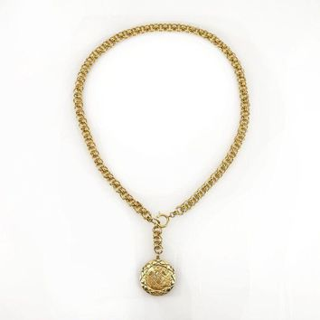 AUTH CHANEL Vintage CC Logo COCO Gold Pendant Charm Heavy Waist Body Chain Belt