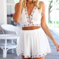 White Halter V-Neck Top with Floral Crochet Shorts