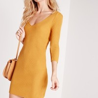 Missguided - deep plunge knitted mini dress mustard