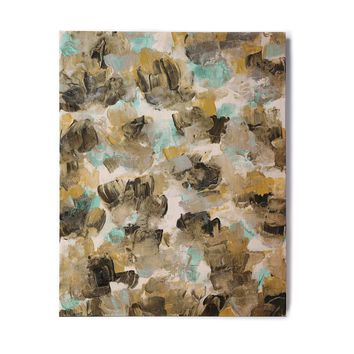 """Ebi Emporium """"Floral Spray 6"""" Maroon Multicolor Floral Abstract Painting Mixed Media Birchwood Wall Art"""