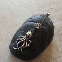 Octopus Silver Belly Ring 14ga Navel Ring Body Jewelry Body Piercing
