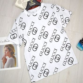 GUCCI Trending Casual Logo Print Short Sleeve Cotton T-Shirt Pullover Top White