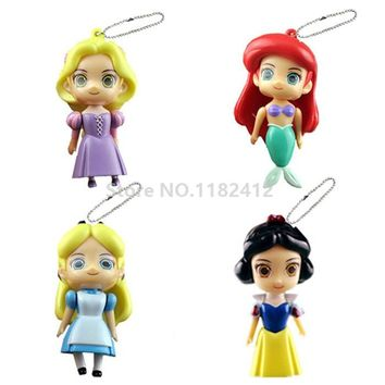 Cute Alice in Wonderland Rapunzel Little Mermaid Ariel Snow White Princess Dolls Toys PVC Pendant Keychains Key Chain Set of 4