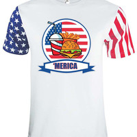 Adult Stars And Strips T Shirt Fast Food 'merica 4th Of July Tee