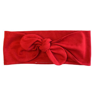 Cute Bow Headband, Holiday Headband, Jersey Knotted Headband, Headband for Women, Red Headband, Women's Headwrap, Top Knot Headband
