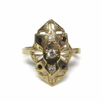 14K Yellow Gold Long Genuine Diamond and Sapphire Ring Size 5.5