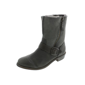 Koolaburra Womens Duarte Leather/Suede Buckle Motorcycle Boots