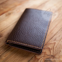 Mens leather wallet iPhone 5 clutch wallet billfold wallet brown genuine leather wallet credit card wallet card holder wallet travel wallet