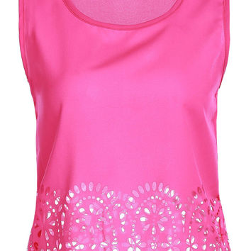 Candy Colored Floral Cut-Out Design Tank Top