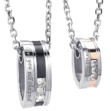 KONOV 2pcs Mens Womens CZ Couples Stainless Steel Love Pendant Love Necklace, 18 & 22 inch Chain
