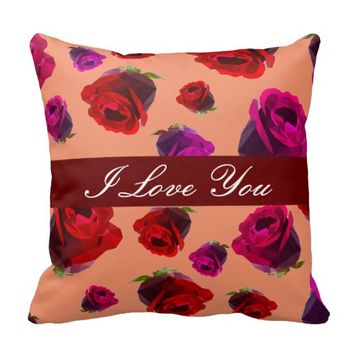 Floral Roses Throw Pillow with Custom Text
