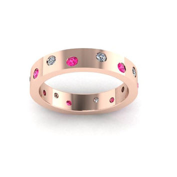 Pink Sapphire Wedding Band, Diamond Wedding Band, Rose Gold, Stack Band, Promise Ring. RE00016