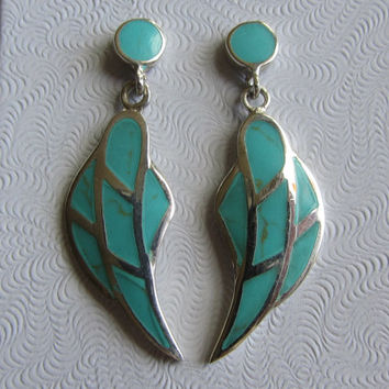 Sterling Silver Turquoise Modernist Leaf Post Stud Dangle Earrings